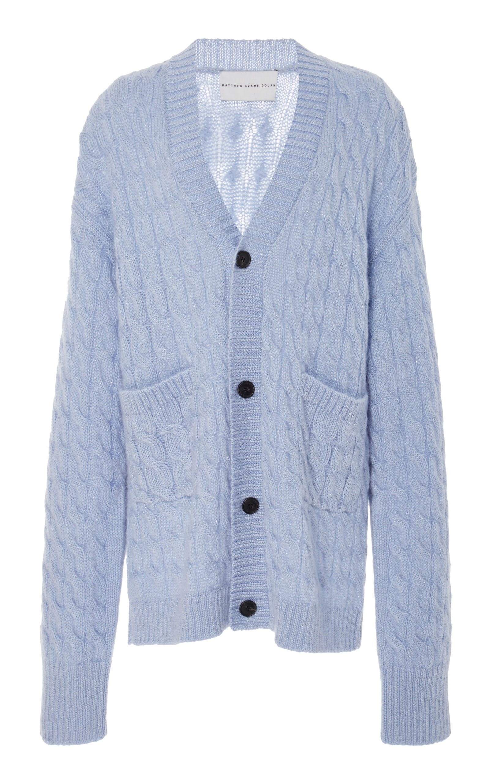 Matthew Adams Dolan MOHAIR-BLEND CABLE-KNIT CARDIGAN