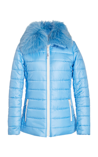 Yves Salomon FUR-TRIMMED QUILTED SHELL PUFFER JACKET