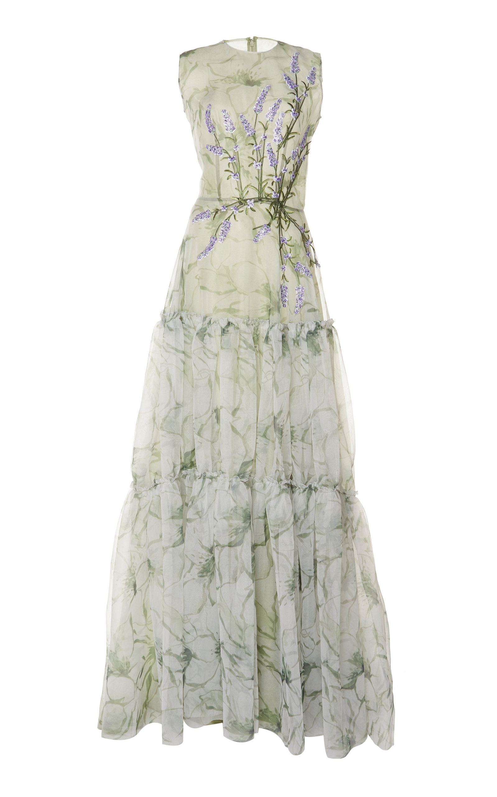 TIERED PRINTED ORGANZA GOWN