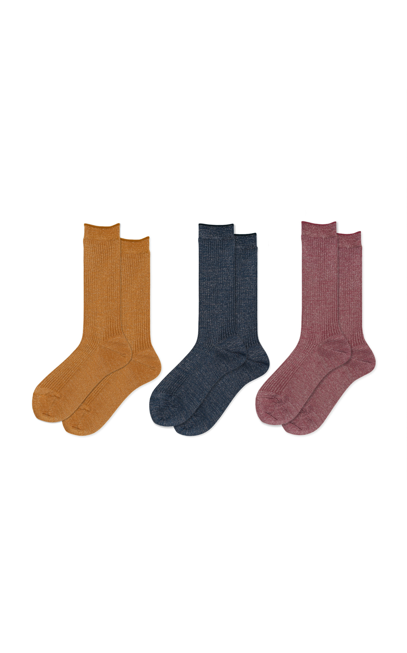 HANSEL FROM BASEL Set-Of-Three Stellar Rib-Knit Crew Socks in Multi