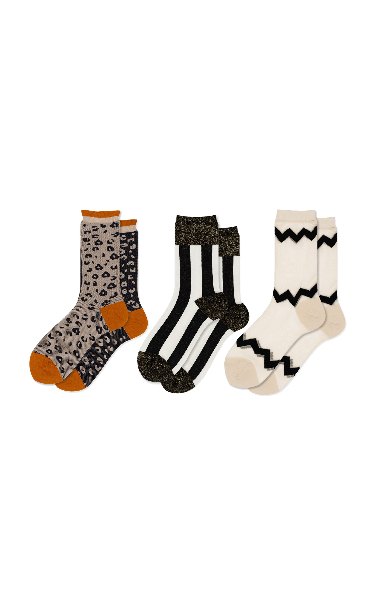 HANSEL FROM BASEL Set-Of-Three Crazy Printed Jersey Crew Socks in Multi