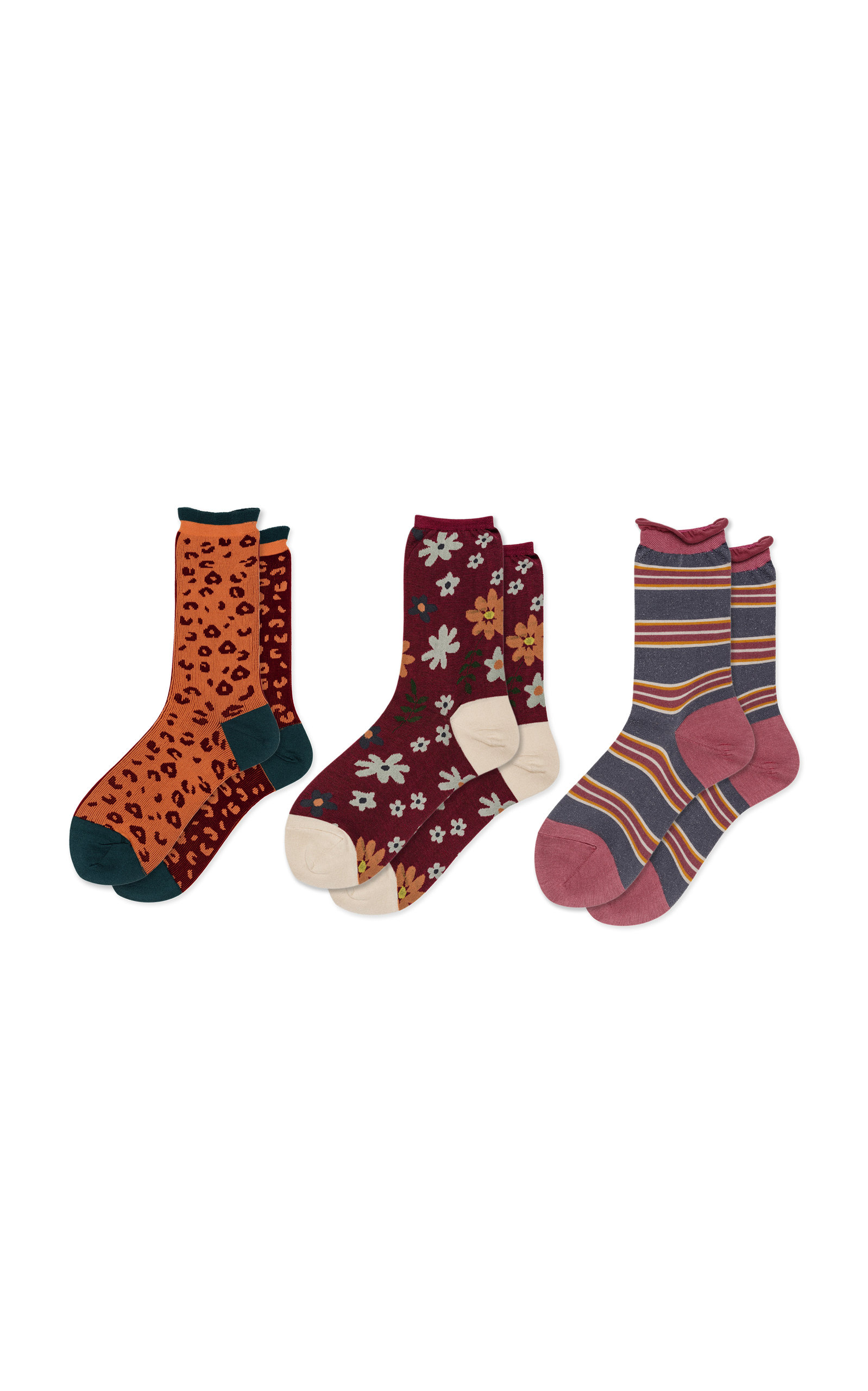 HANSEL FROM BASEL Set-Of-Three Unique Printed Cotton-Blend Crew Socks in Multi