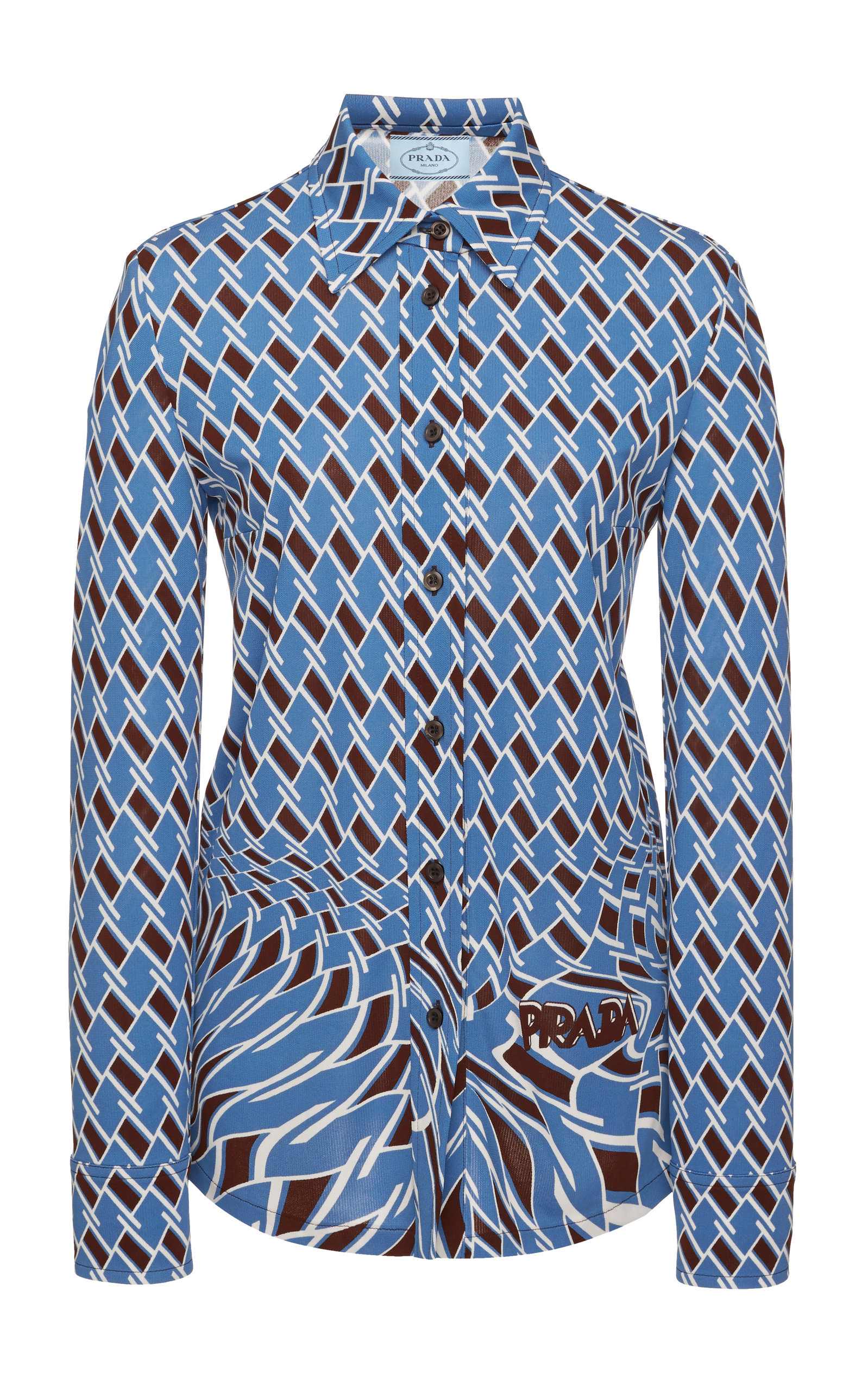 Argyle-Jersey Button-Front Shirt in Print