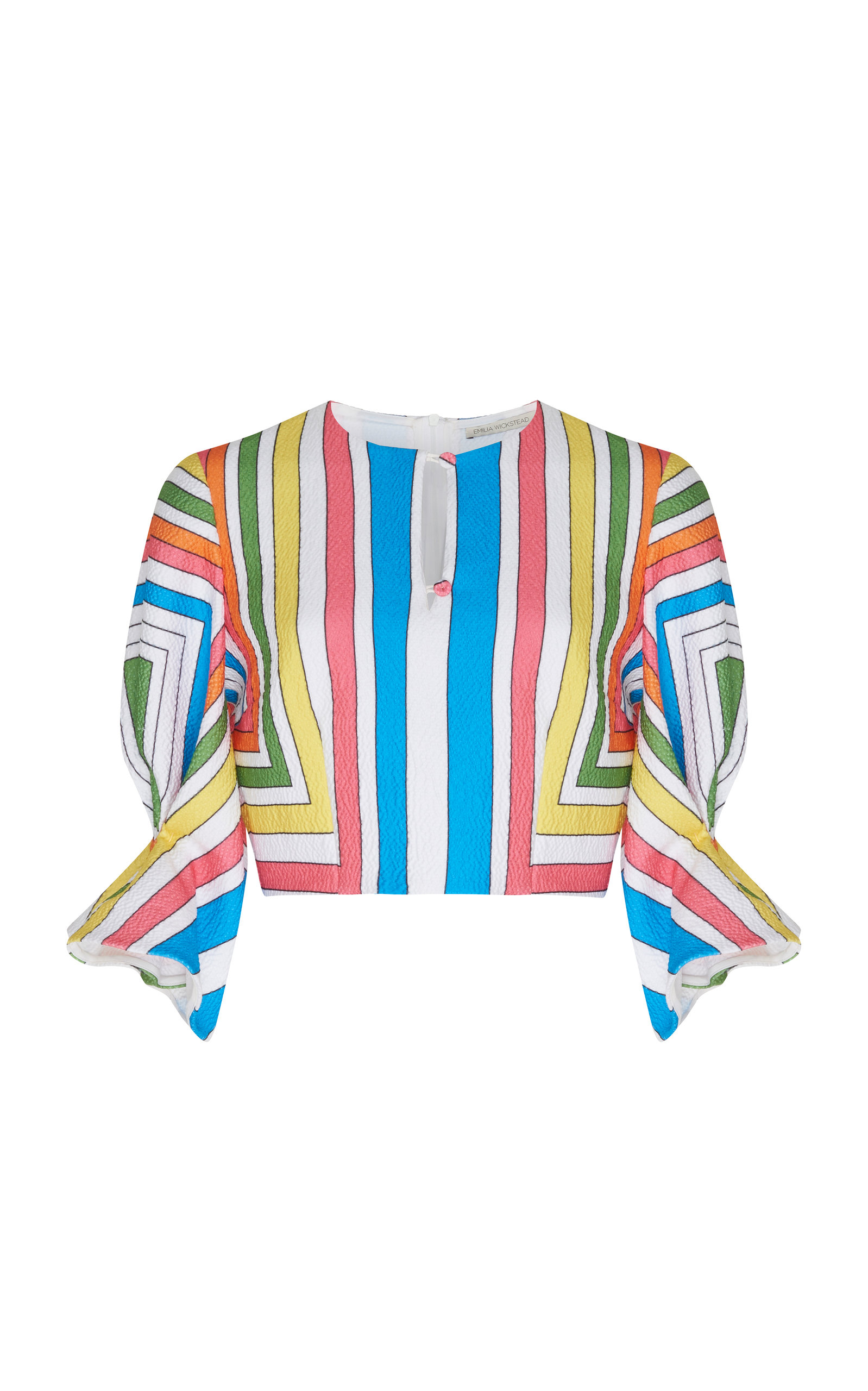 EMILIA WICKSTEAD SEVERINE CROPPED STRIPED POPLIN BLOUSE