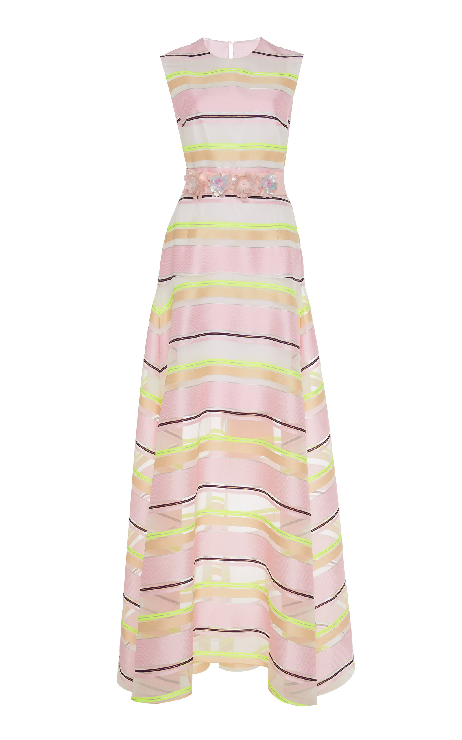 EMBELLISHED STRIPED ORGANZA GOWN