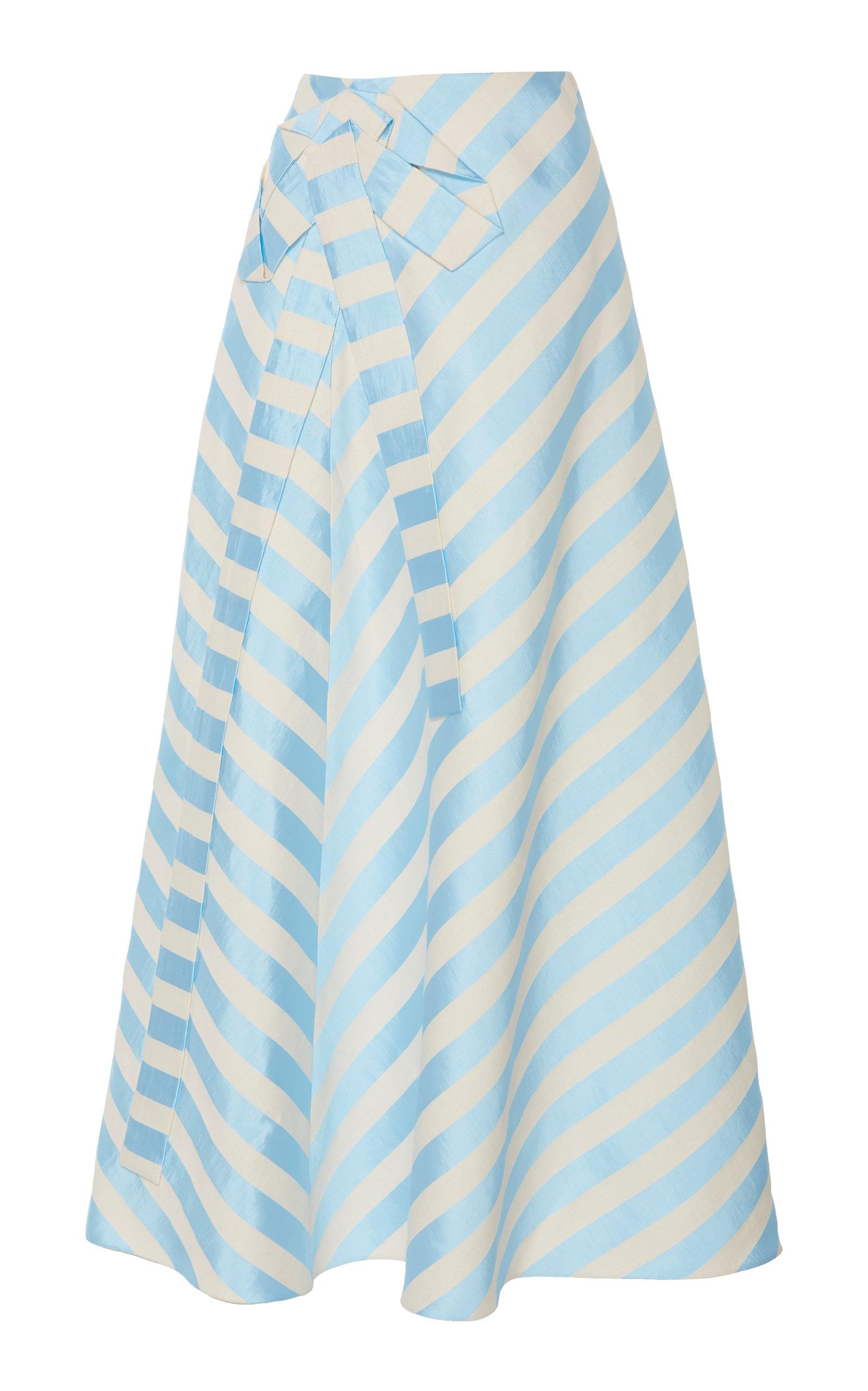 79ea591bf3 Bow-Embellished Striped Linen-Blend Midi Skirt by DELPOZO   Moda ...