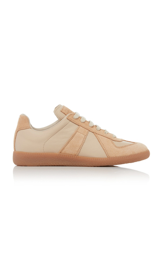 MAISON MARGIELA | Maison Margiela Replica Leather and Suede Sneakers | Goxip