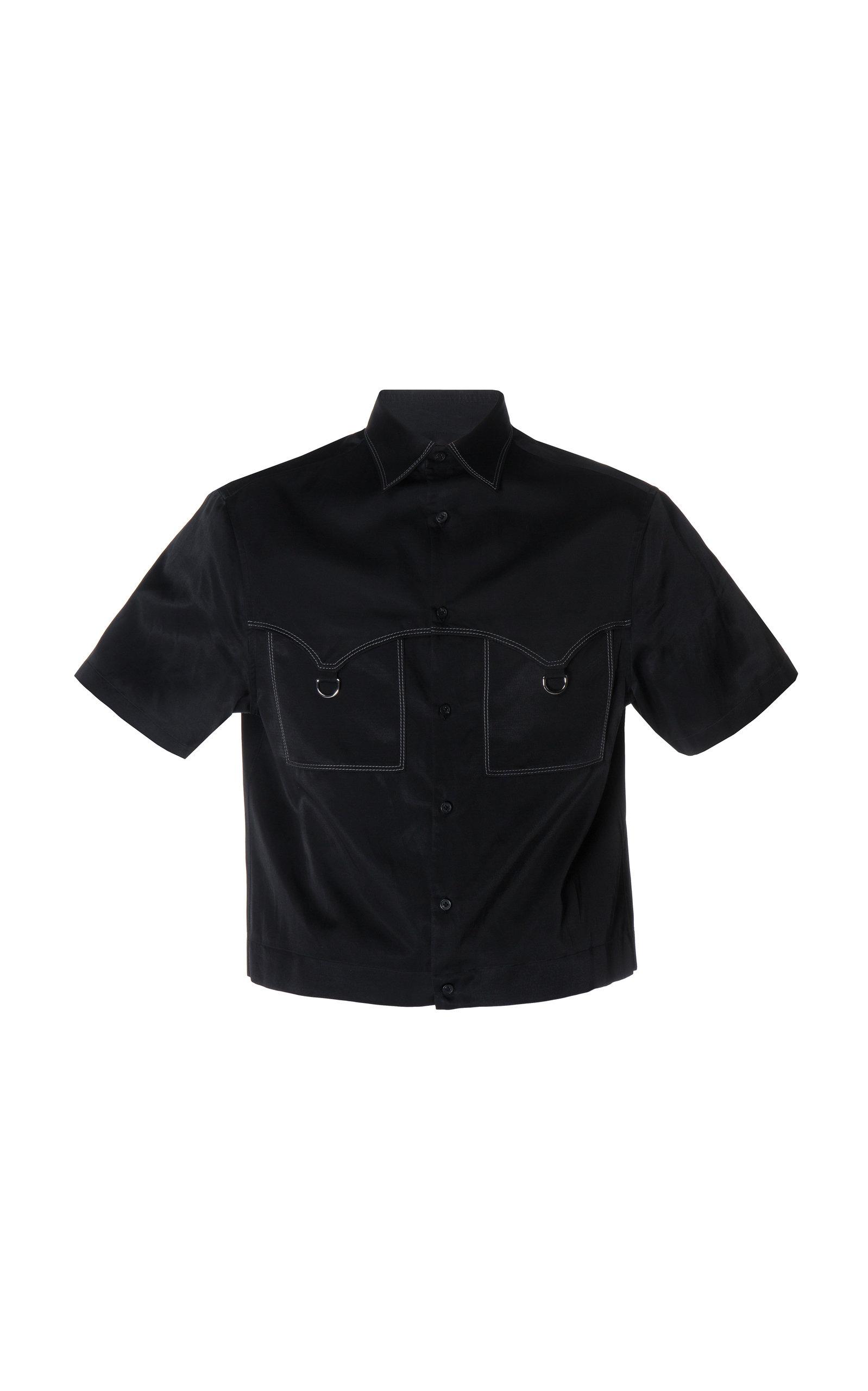Lanvin Contrast Stitch Boxy Silk Shirt In Black