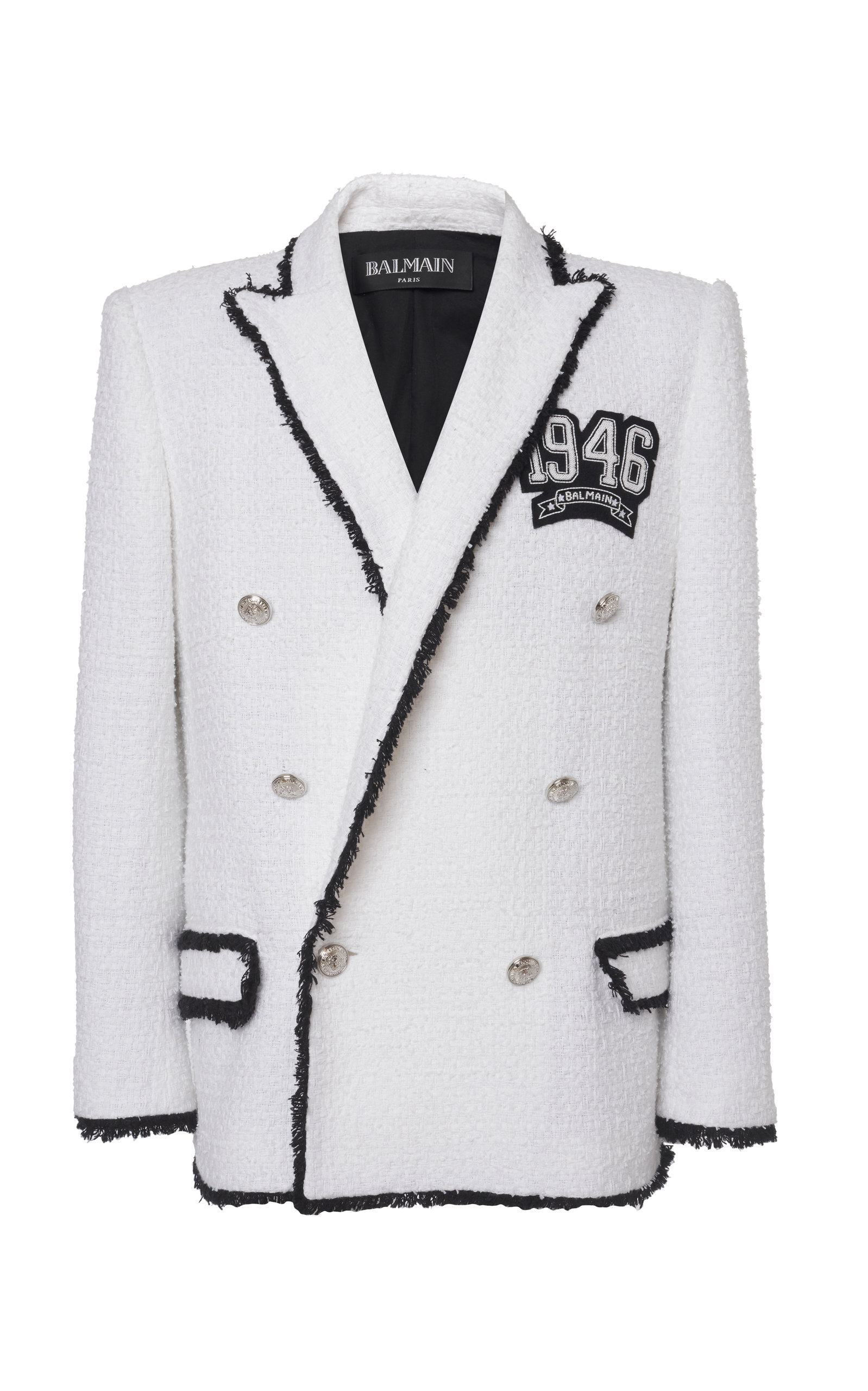 b21bf8d5 Double Breasted Fringed Tweed Jacket by Balmain | Moda Operandi