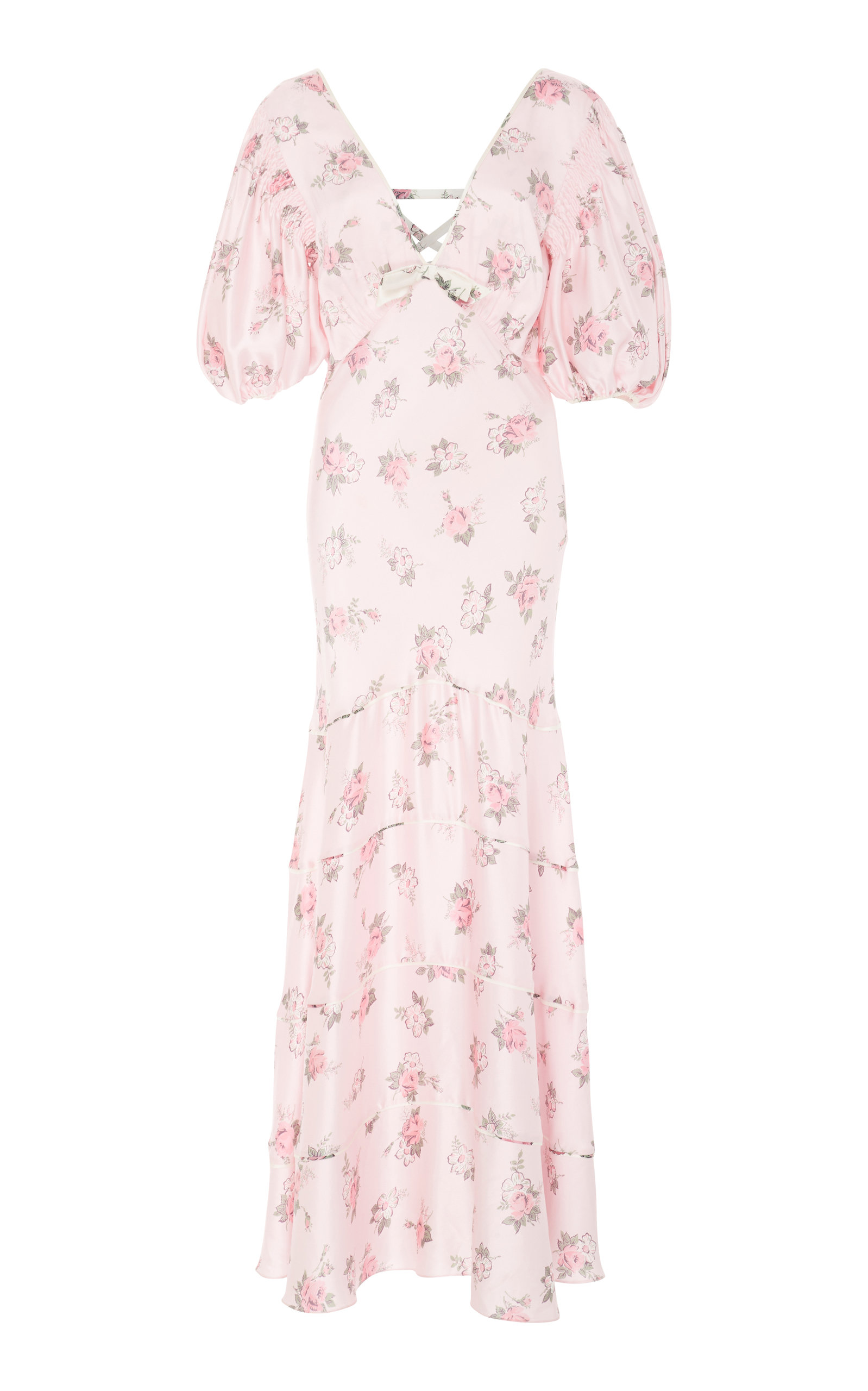 Loveshackfancy LILIA CUTOUT FLORAL-PRINT SILK MAXI DRESS