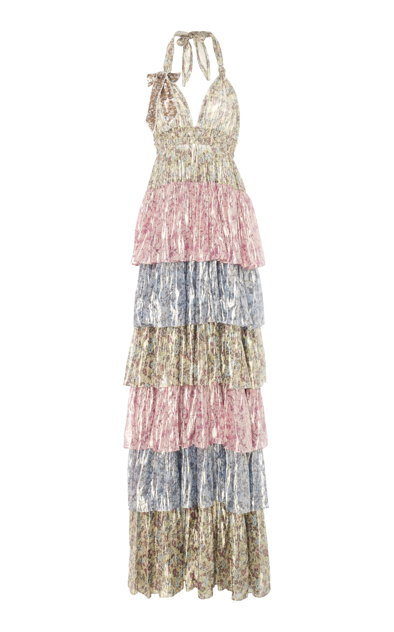 LOVESHACKFANCY Clarissa Tiered Floral Silk-Blend Lamé Maxi Dress in Print