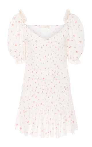 LOVESHACKFANCY | LoveShackFancy Tina Smocked Floral Cotton Mini Dress | Goxip