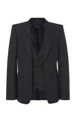 ALEXANDER MCQUEEN | Alexander McQueen Pinstriped Wool Blazer With Vest | Goxip