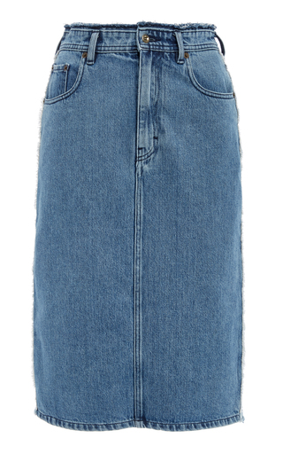 ACNE STUDIOS | Acne Studios Ilyssia Den Distressed High-Rise Denim Midi Skirt | Goxip