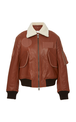 Victoria Victoria Beckham PATCH-DETAILED LEATHER BOMBER JACKET