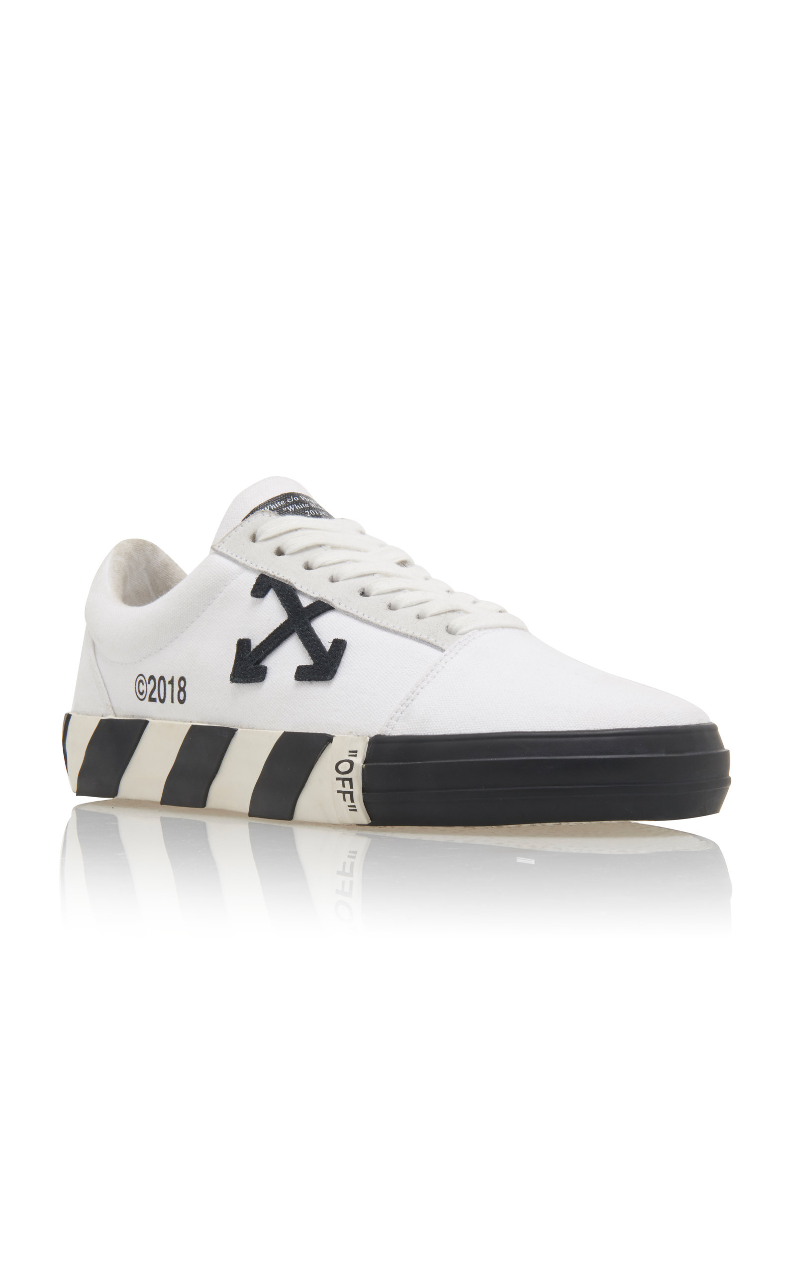 Vulcanised Striped Low-Top Leather