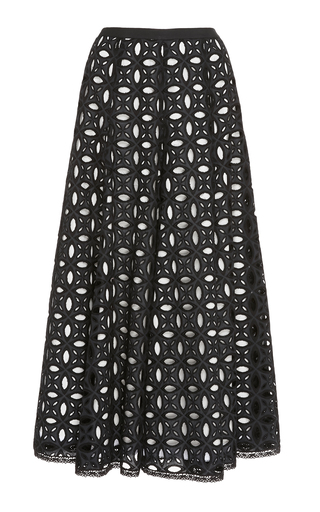 ANDREW GN | Andrew Gn Pleated Potton-Broderie Anglaise Midi Skirt | Goxip