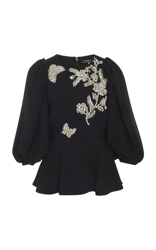 ANDREW GN | Andrew Gn Butterfly Beaded Cady Peplum Blouse | Goxip