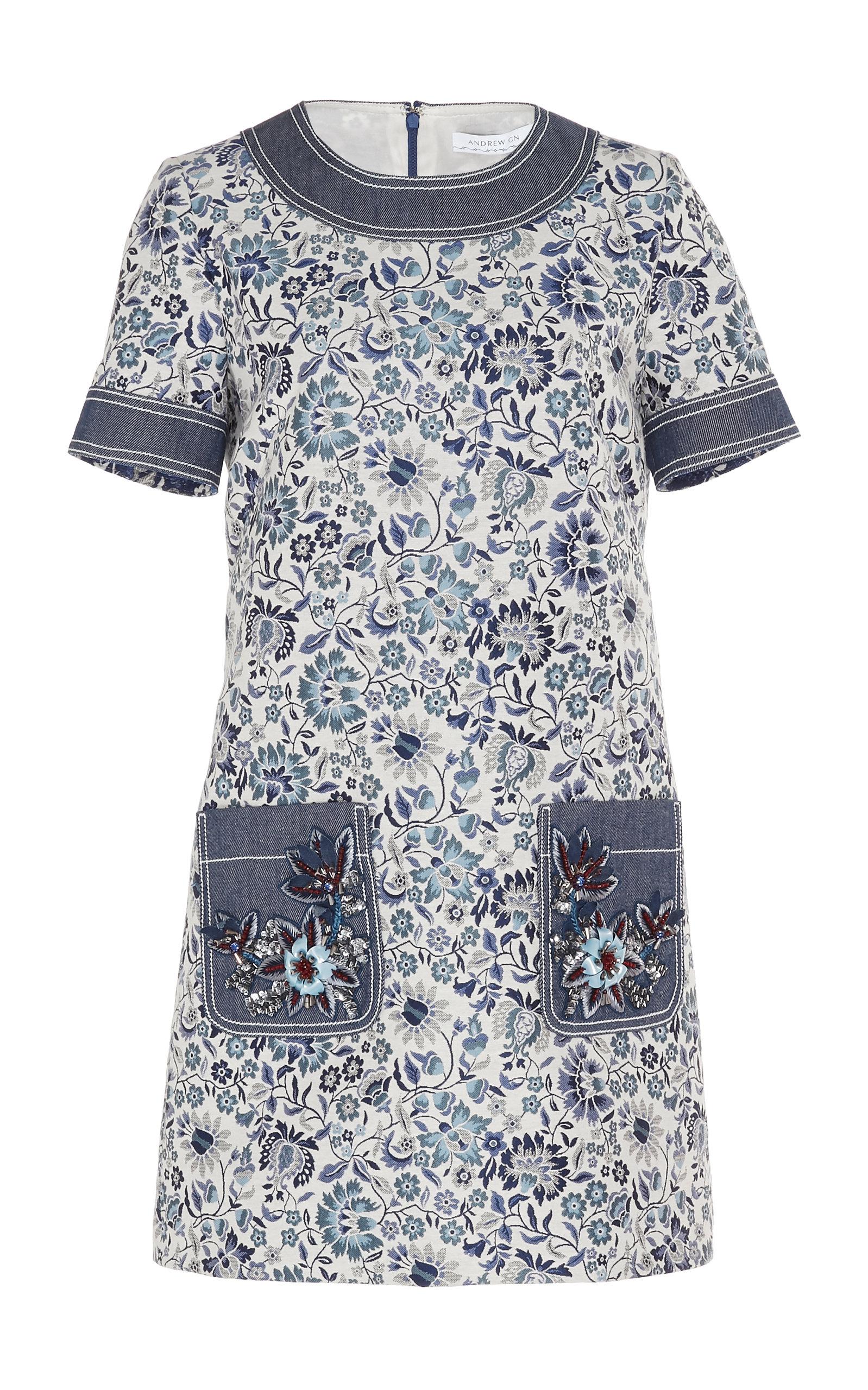 ANDREW GN Short-Sleeve Floral-Print Denim-Trim Shift Dress