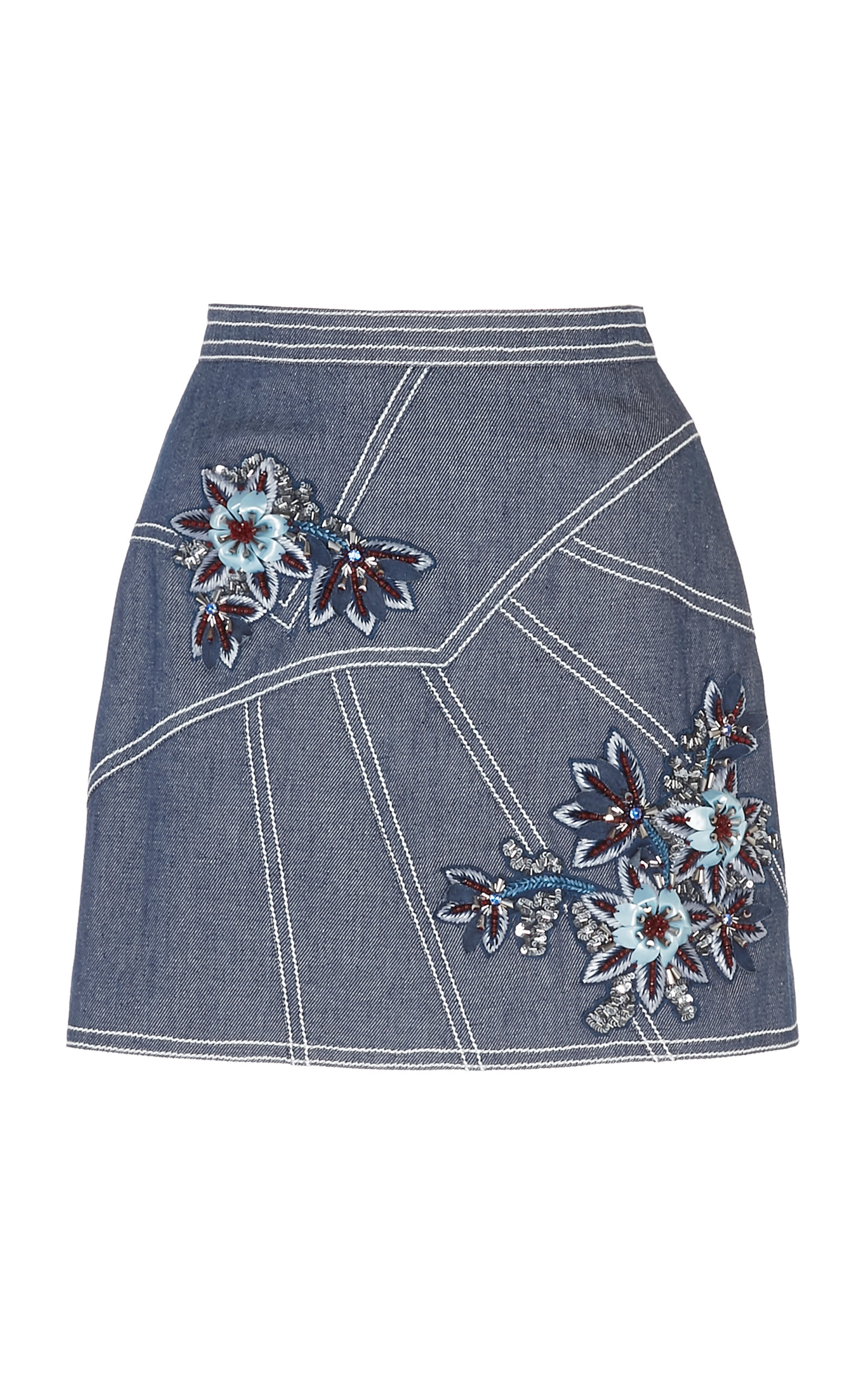d34e3cc8a4 Floral-Embroidered Denim Skirt by Andrew Gn | Moda Operandi