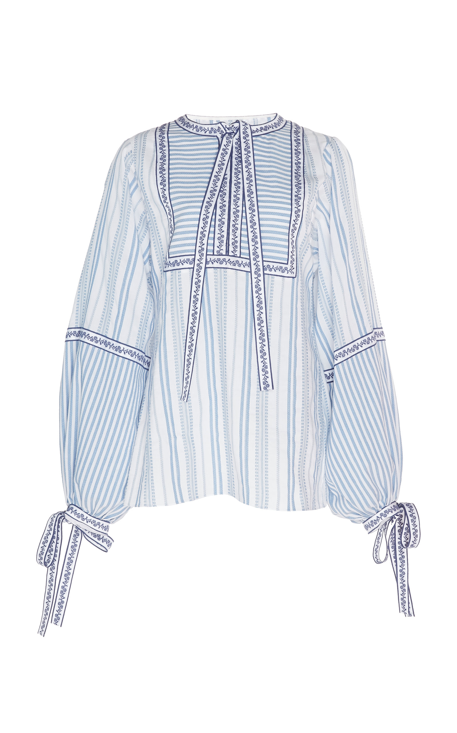ANDREW GN Long-Sleeve Mixed Stripe Tie-Neck Peasant Blouse in Blue