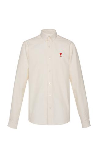 AMI   AMI Striped Cotton-Oxford Button-Down Shirt   Goxip