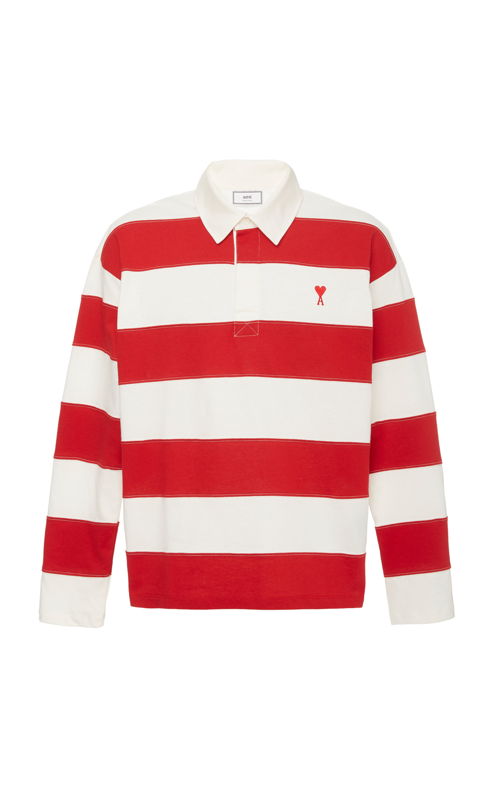 33501a3b1c2 Logo-Embroidered Striped Cotton-Jersey Rugby Shirt by AMI   Moda ...
