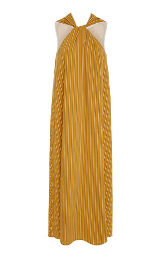 AUDRA   AUDRA Twisted Pinstripe Halter Dress   Goxip
