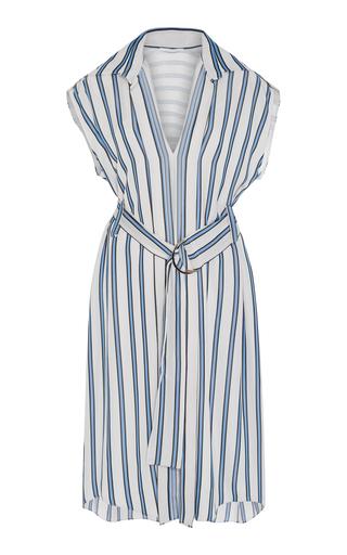 AUDRA   AUDRA Stripe Belted Fold Dress   Goxip