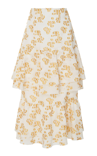 AUDRA   AUDRA Floral Tiered Ruffle Skirt   Goxip