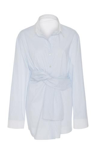 AUDRA   AUDRA Asymmetric Twist Polka Dot Shirt   Goxip