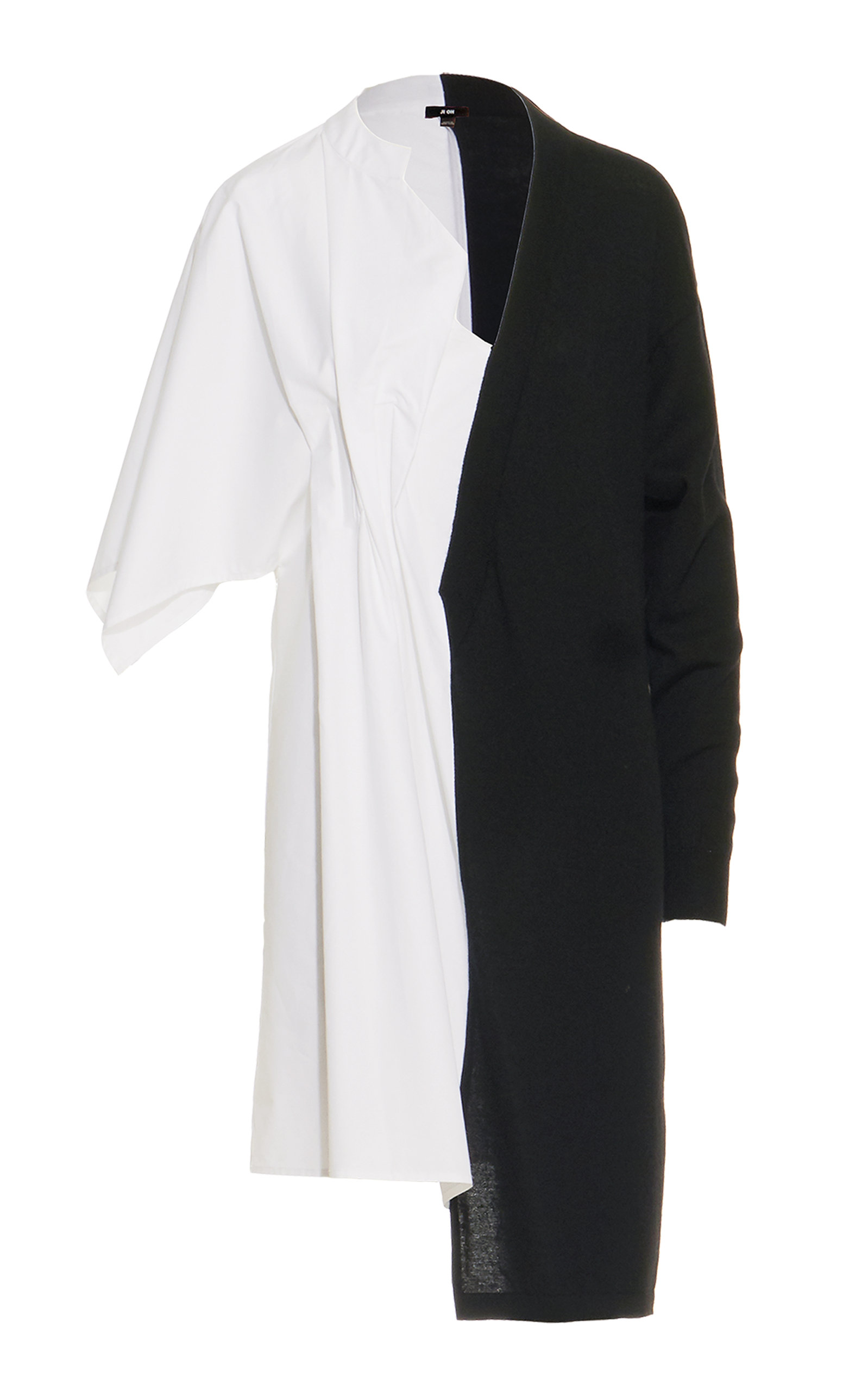 JI OH Half Sweater Shirt Dress in Black/White