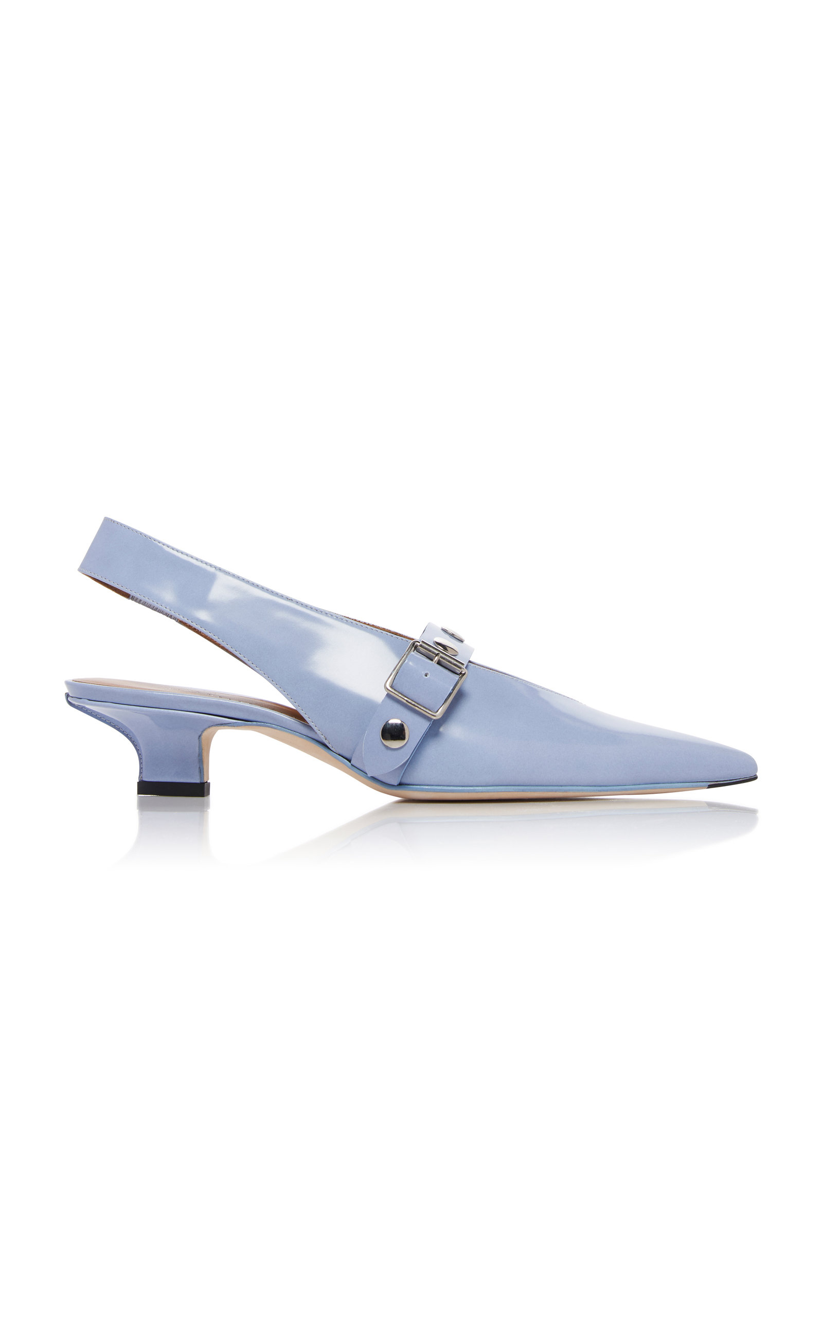 Punky Studded Buckled Patent-Leather Pumps in Blue