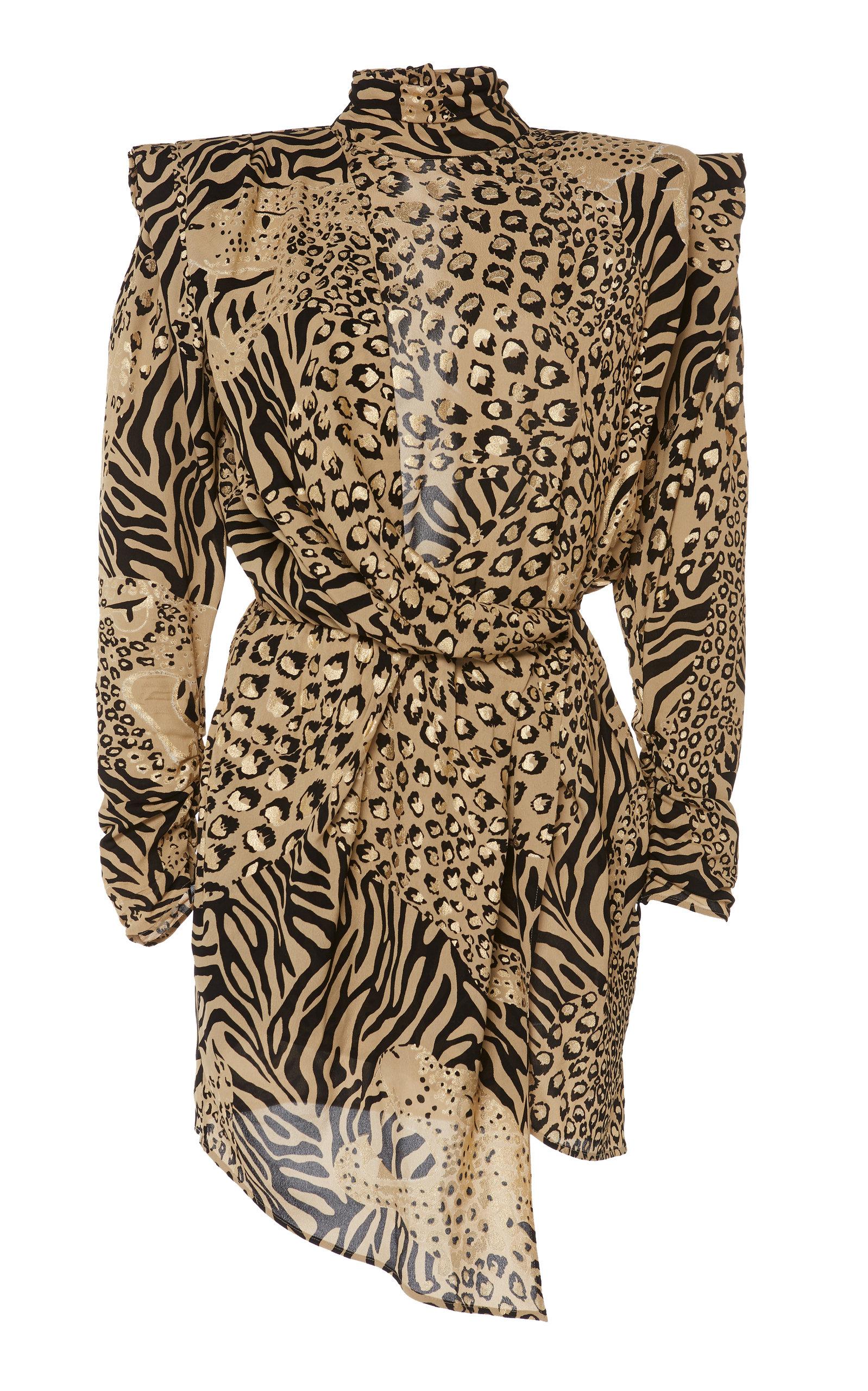 DUNDAS 3/4-Sleeve High-Neck Animal Print Dress