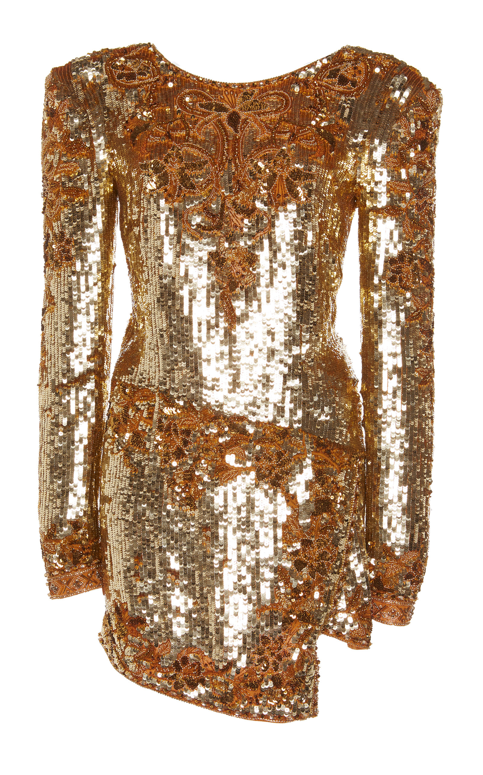 DUNDAS Long-Sleeve Embroidered Sequin Mini Dress in Yellow