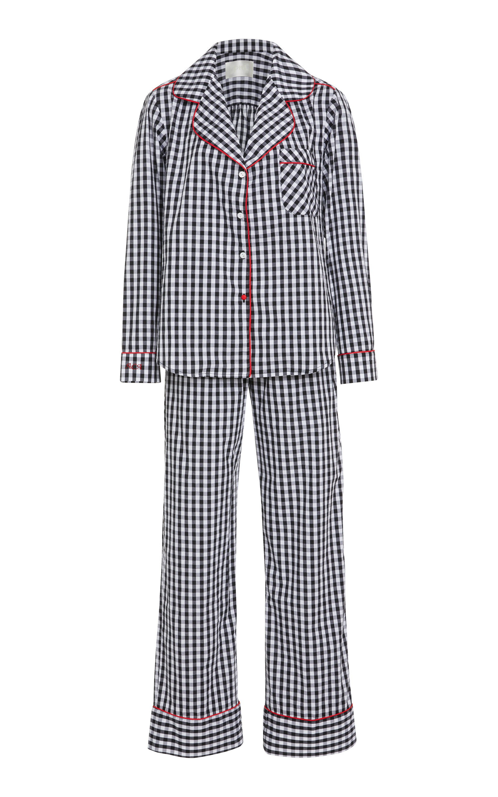 PIU LIFESTYLE MONOGRAM THE DANIELLA LONG COTTON PAJAMA SET