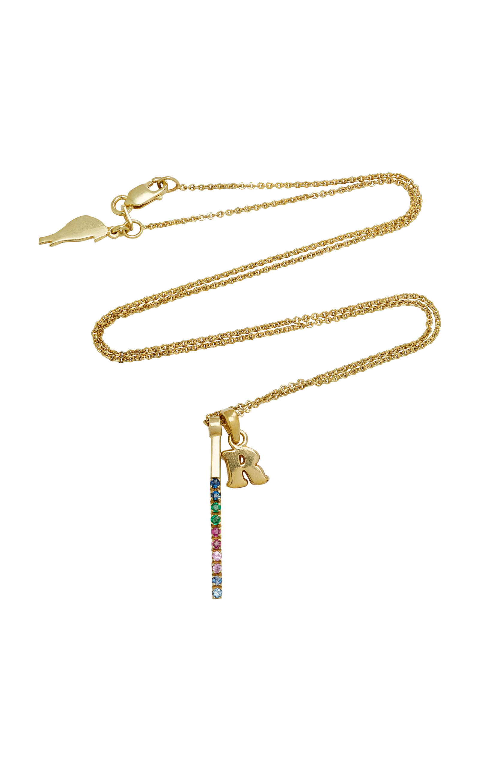 AMANDINA M'ONOGRAM LETTER CHARM WITH RAINBOW BAR NECKLACE