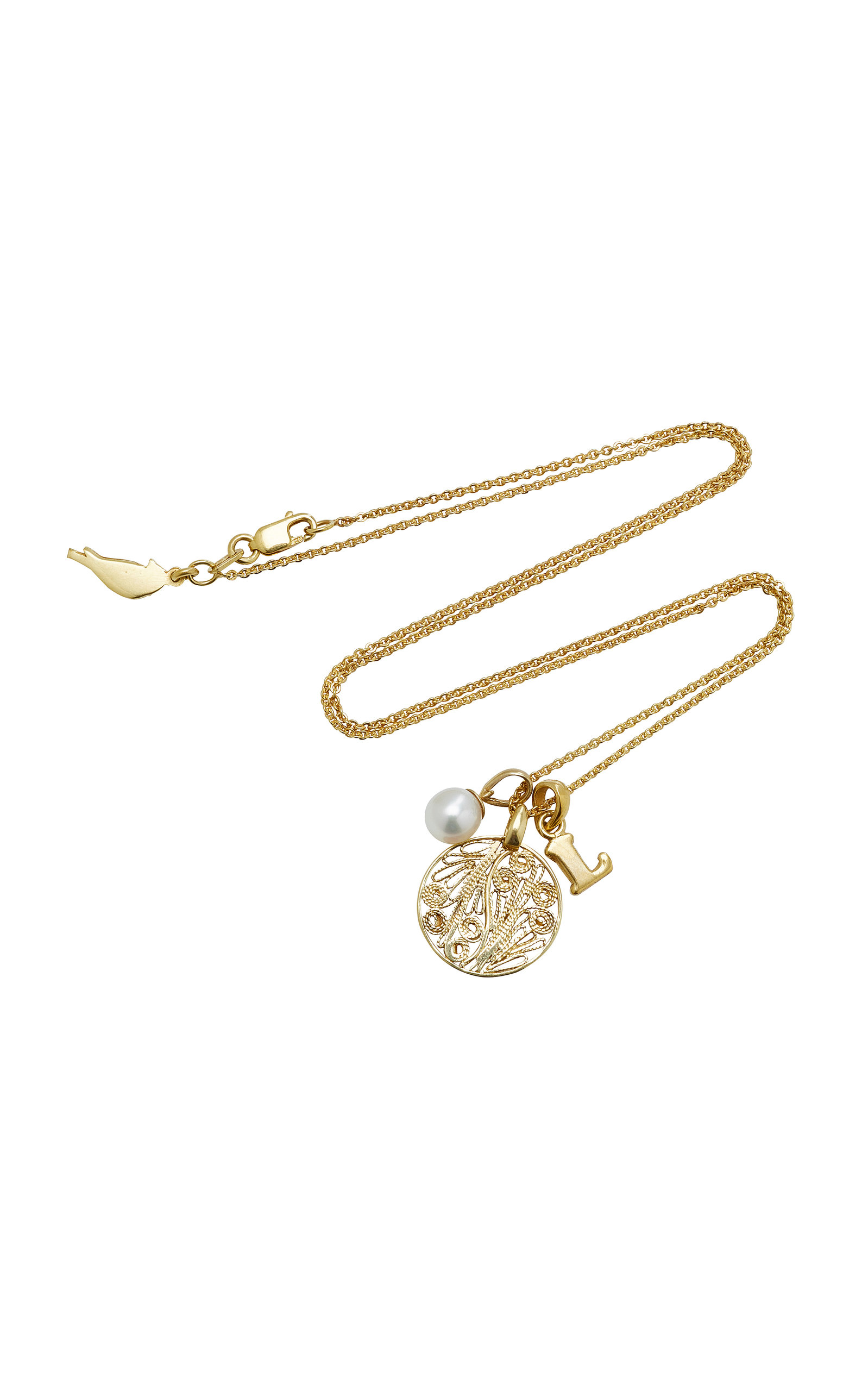 AMANDINA M'ONOGRAM LETTER CHARM WITH FILIGREE MEDALLION AND PEARL NECKLACE