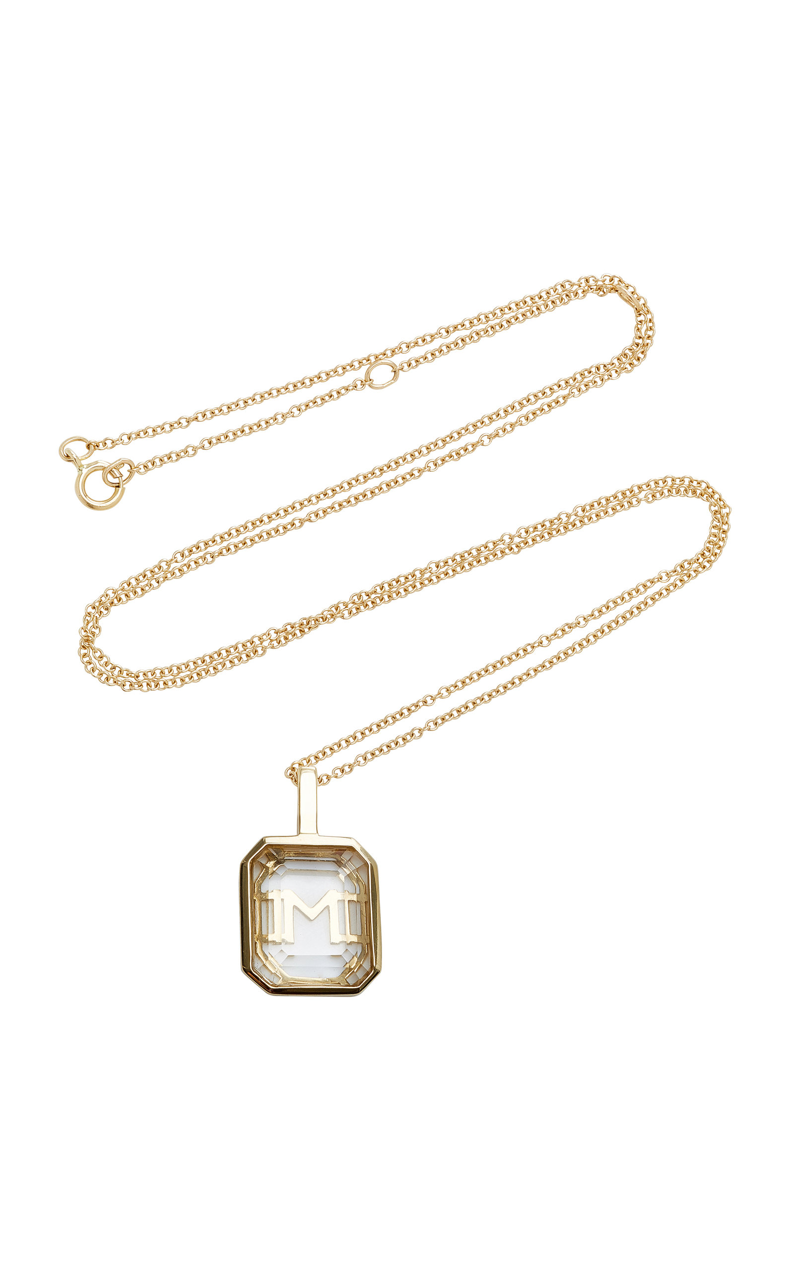 MATEO M'ONOGRAM WHITE CRYSTAL INITIAL NECKLACE