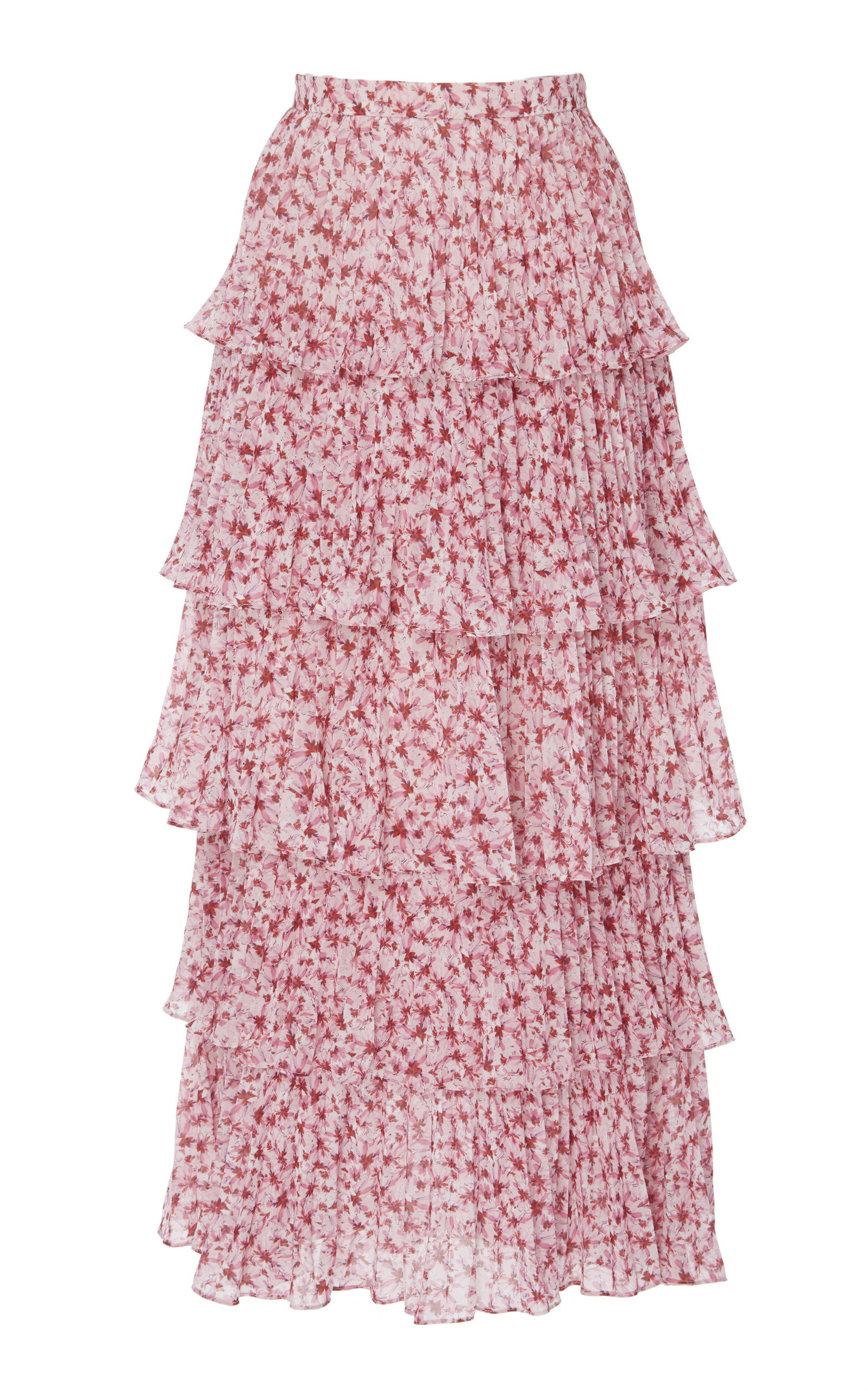 AMUR Floral-Printed Chiffon Midi Skirt