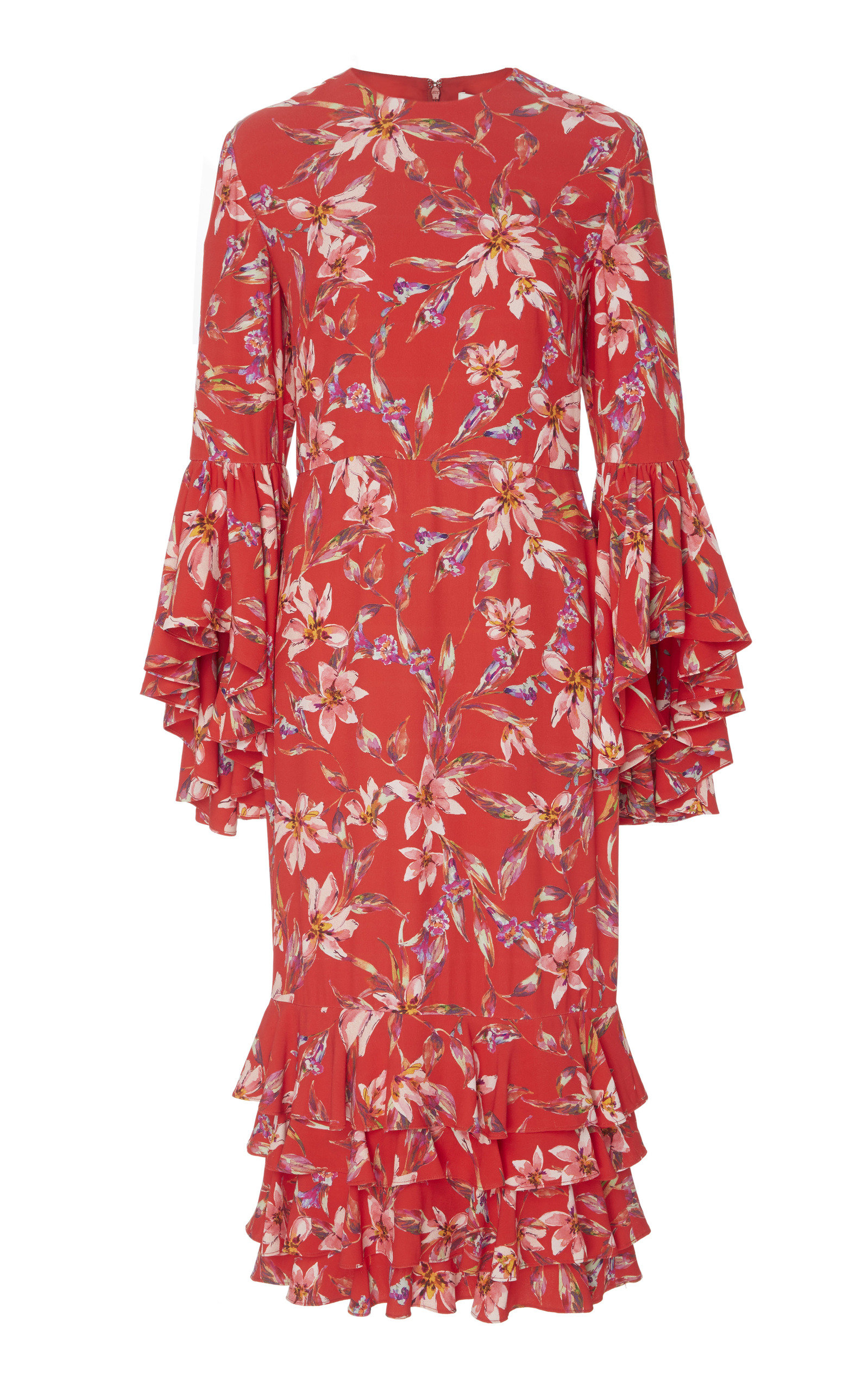 AMUR Alexia Crepe Flared Sleeve Midi Dress in Floral