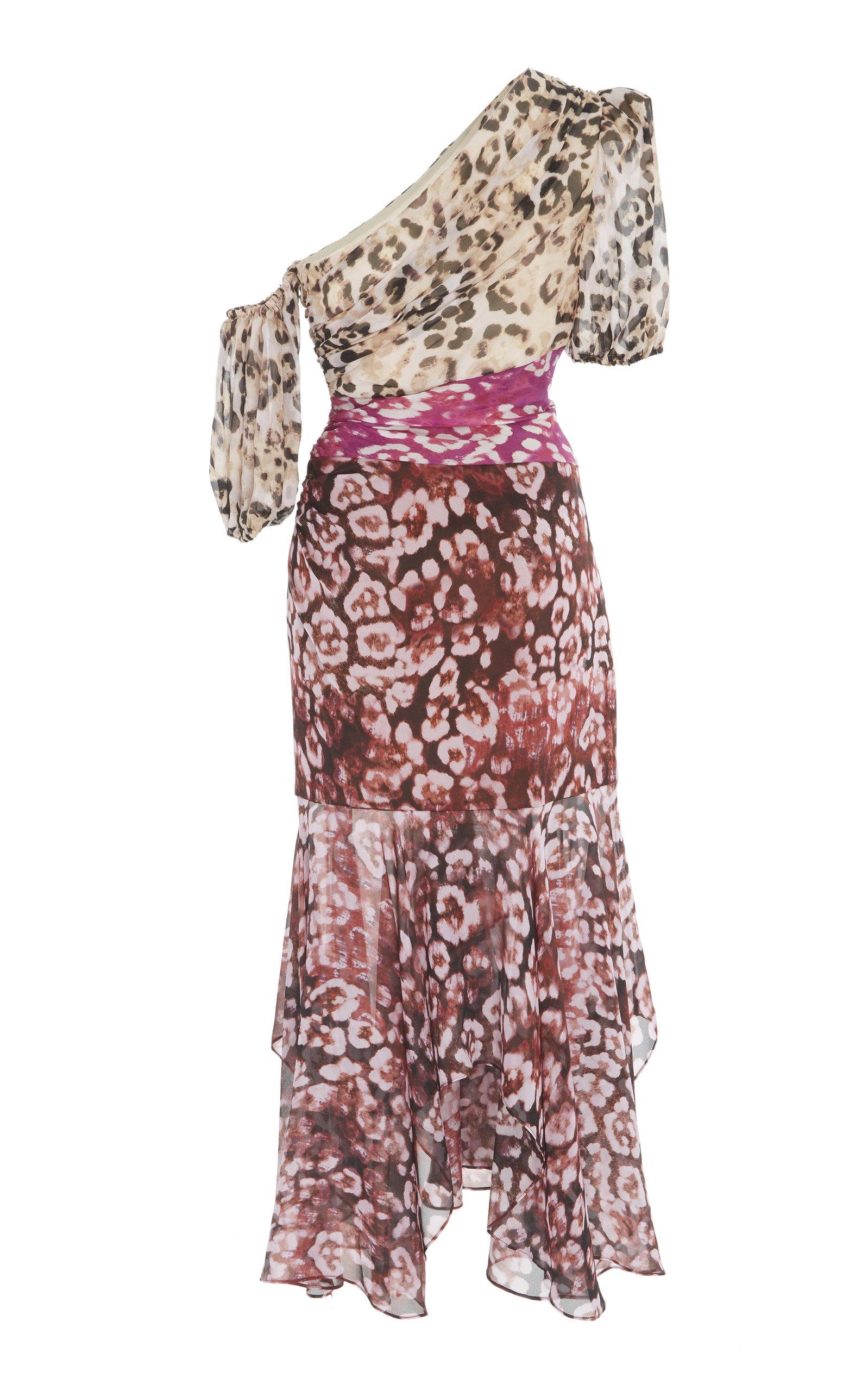 98379fc45e AMURJaylah One-Shoulder Printed Silk-Chiffon Midi Dress. CLOSE. Loading.  Loading