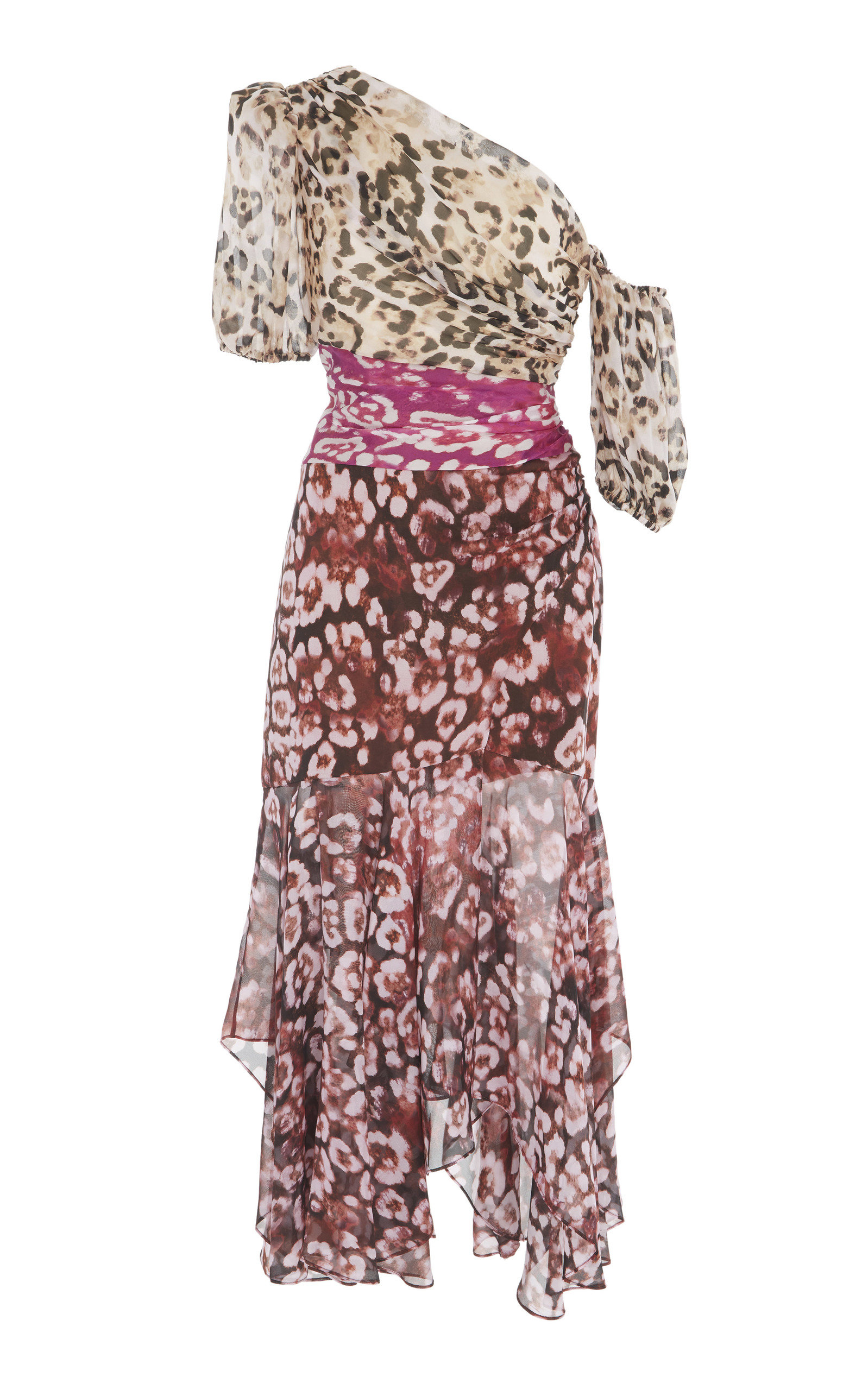 cdb62f9567 AMURJaylah One-Shoulder Printed Silk-Chiffon Midi Dress. CLOSE. Loading