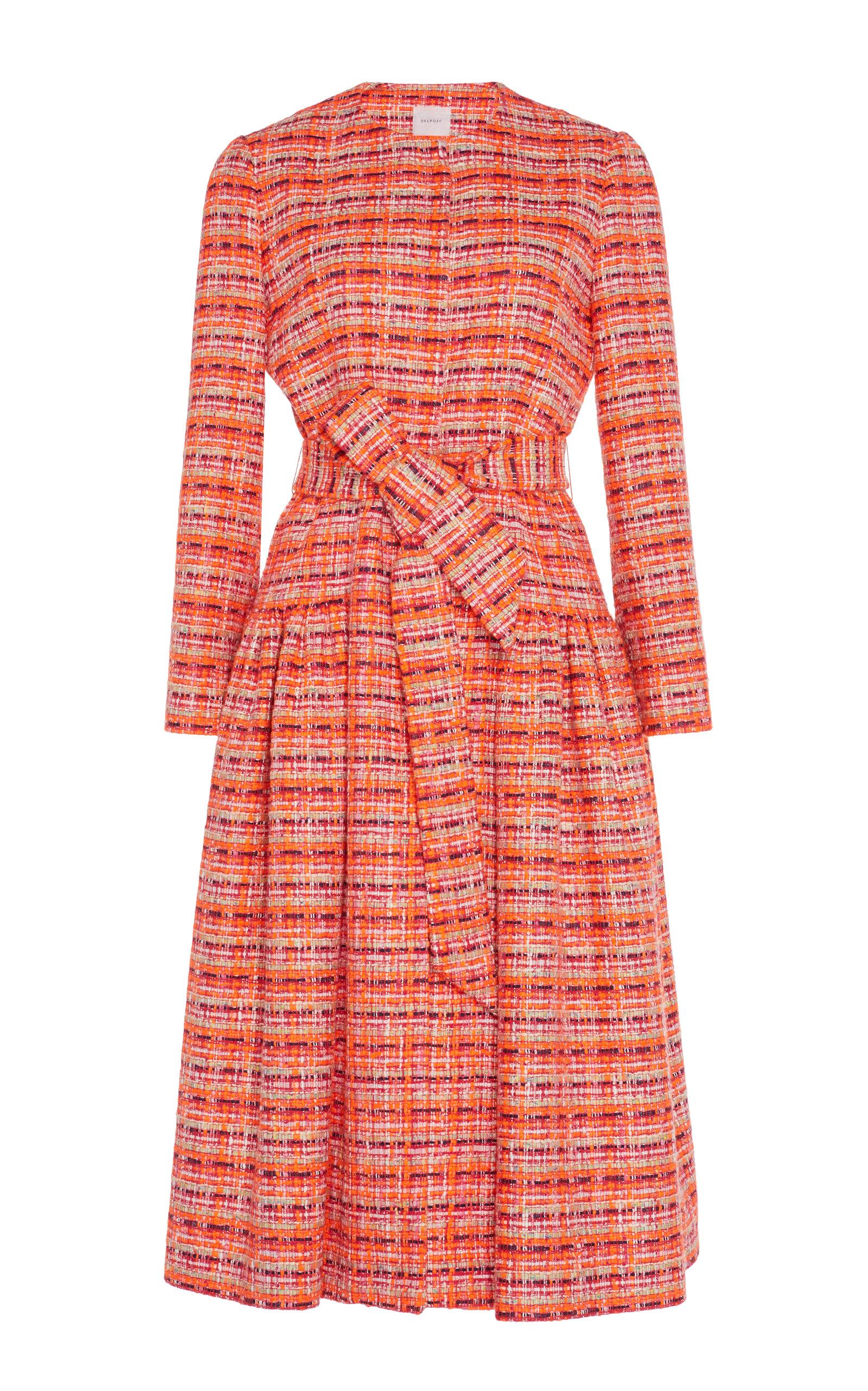 Delpozo Gathered Tweed Coat