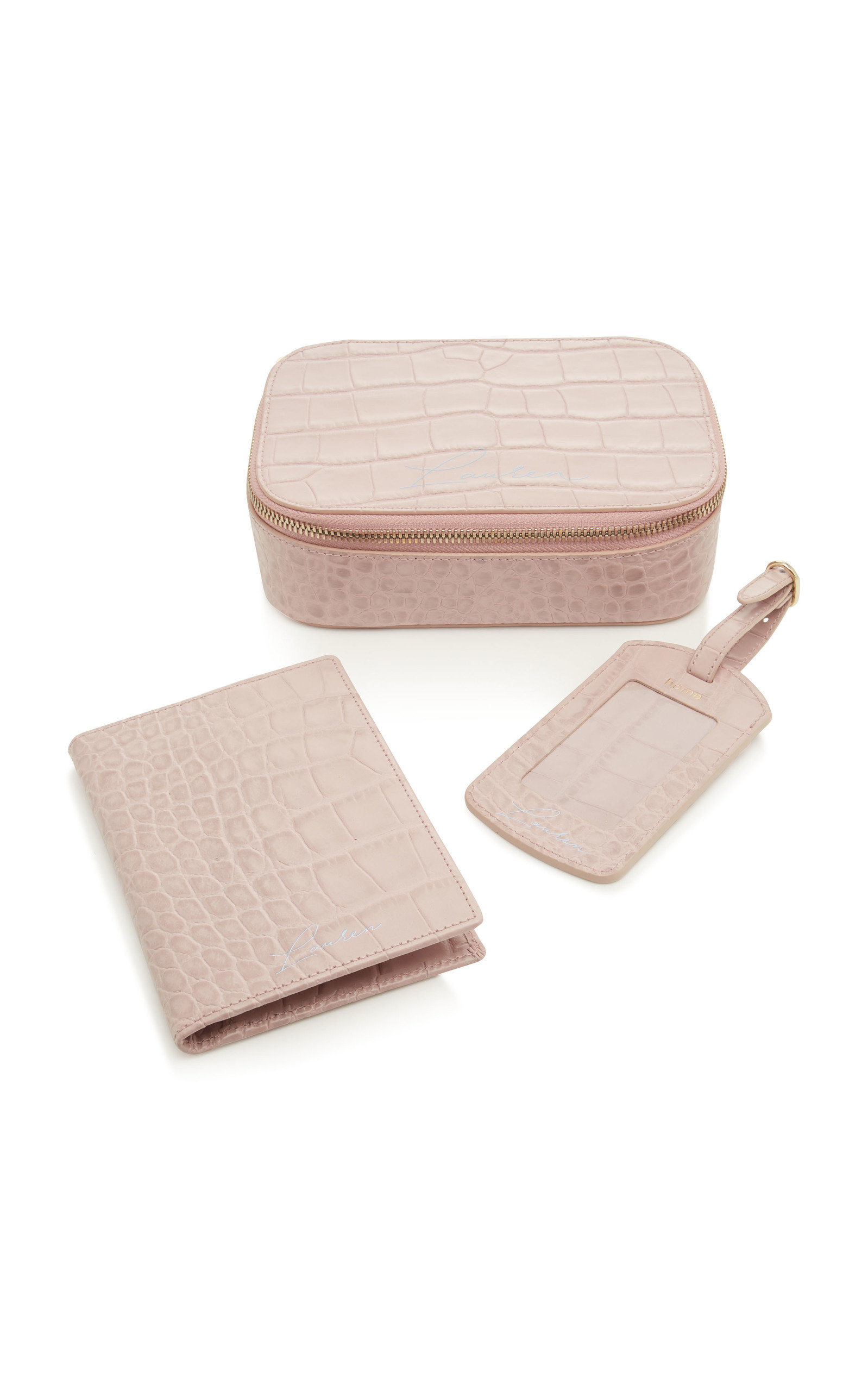 M'ONOGRAMMABLE 3 PIECE TRAVEL SET IN PINK CROCO
