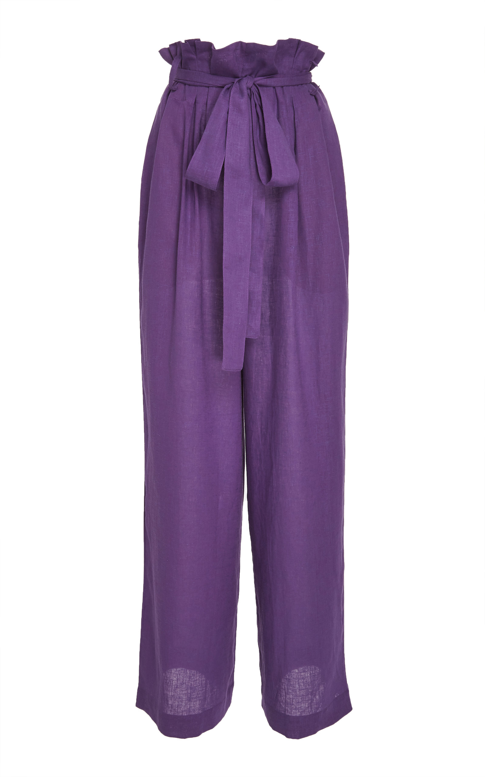 LENNY NIEMEYER Clochard High-Waisted Wide-Leg Linen Pants in Purple
