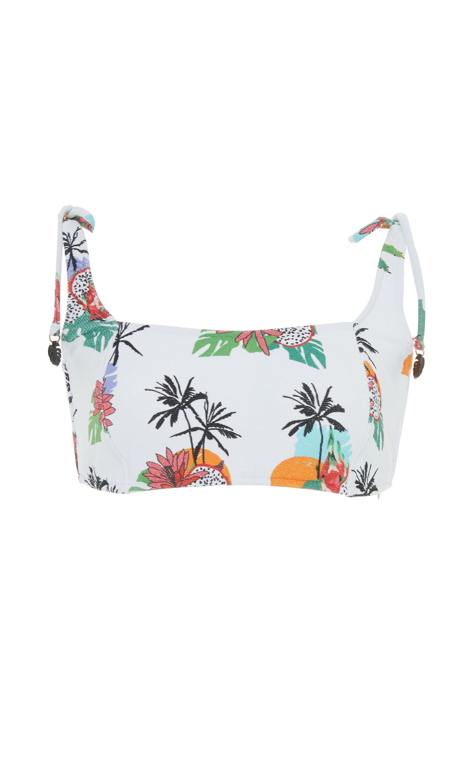 SALINAS Palms Printed Bikini Top in White