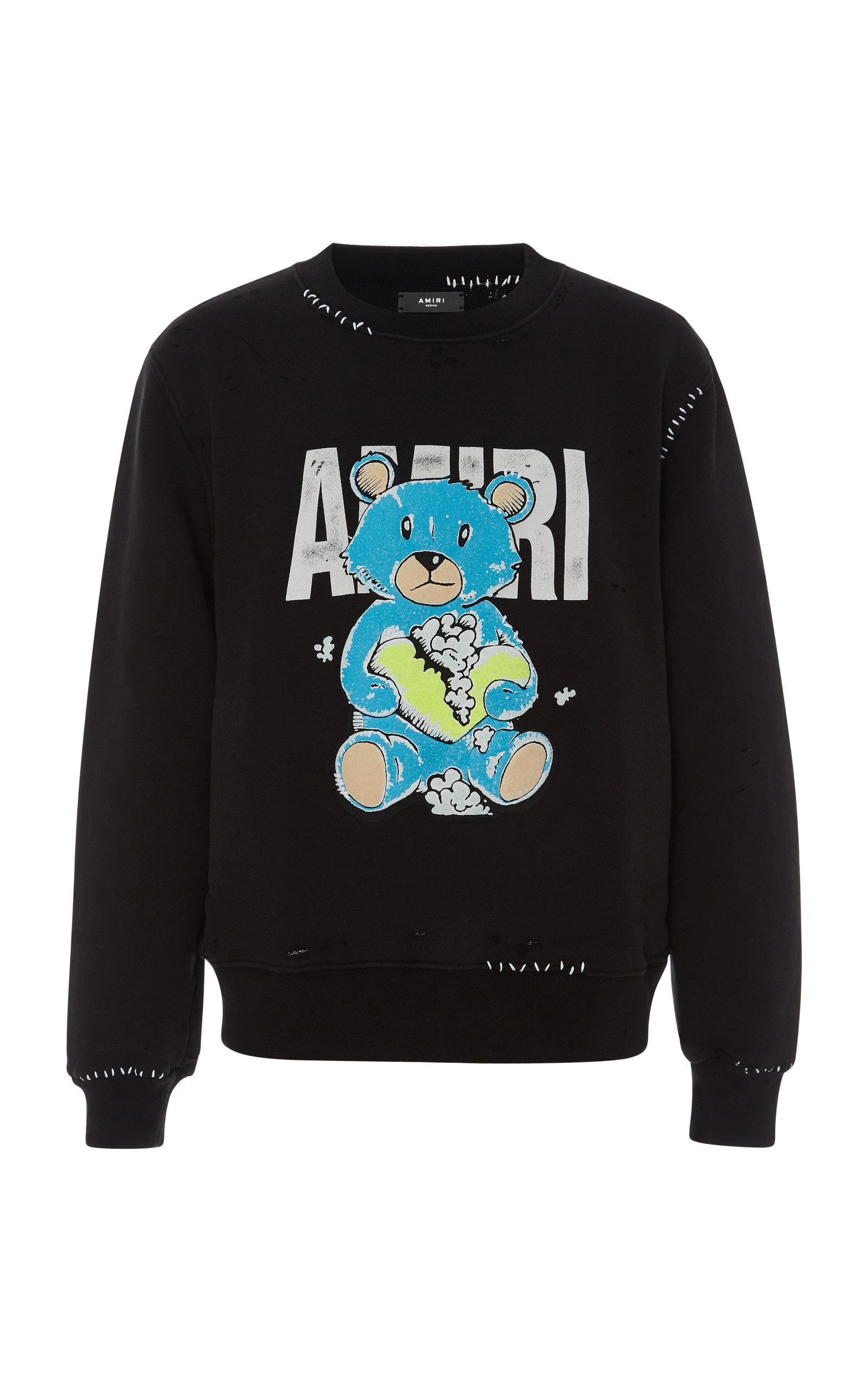 Amiri T-shirts TEDDY REPAIR COTTON SWEATSHIRT