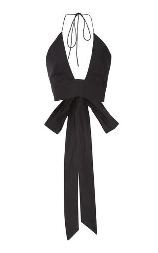 KALITA | Kalita Plato Cropped Bow-Detailed Cotton Halterneck Top | Goxip
