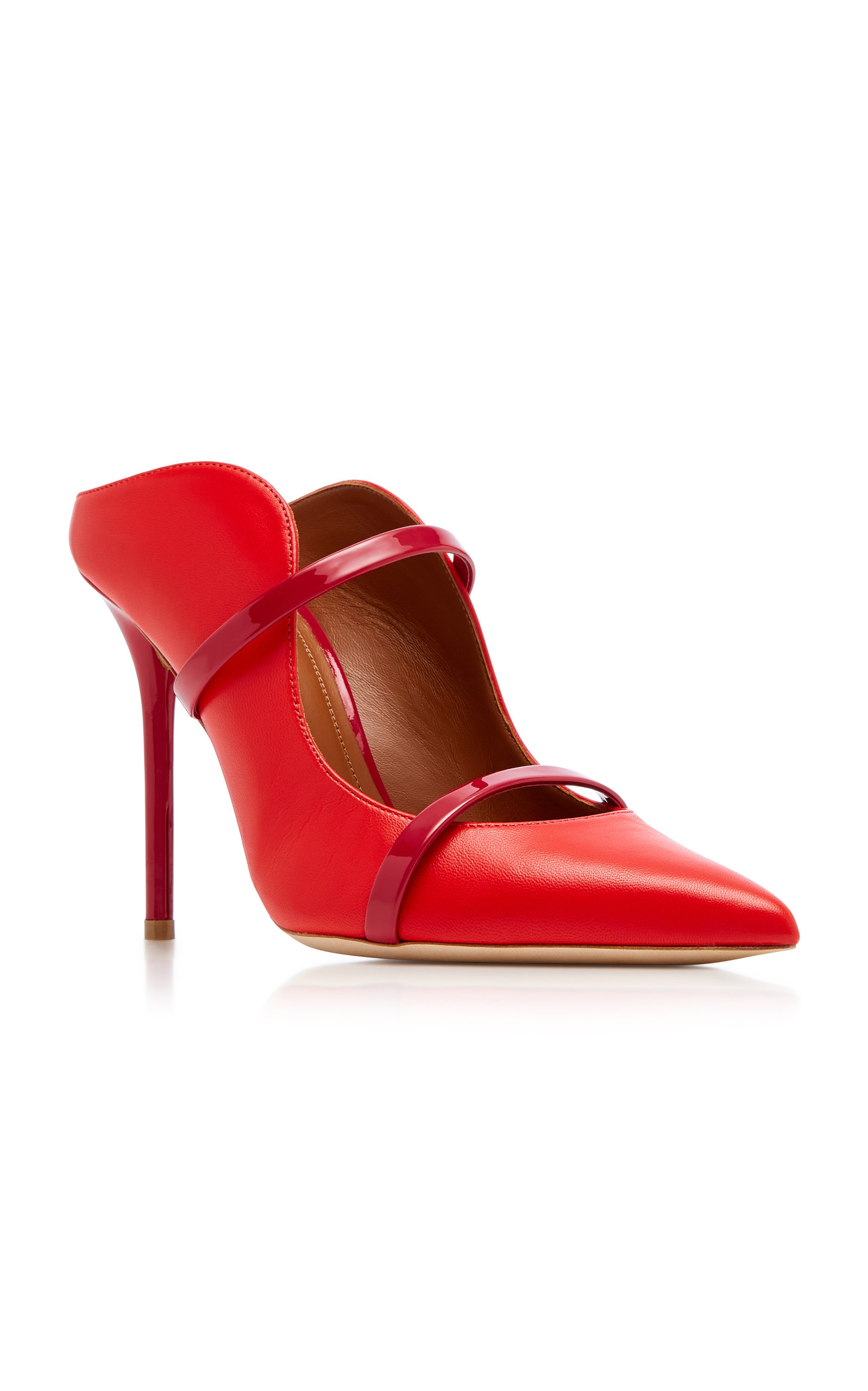 71b267cde62d Malone SouliersMaureen Patent Leather-Trimmed Leather Mules. CLOSE.  Loading. Loading. Loading. Loading